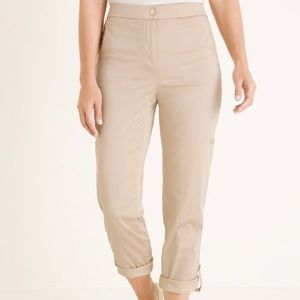 Chico's convertible crop to ankle pants beige